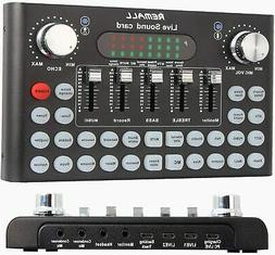 Bluetooth Live Sound Card Voice Changer Audio DJ Mixer with